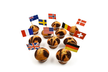 World Flag Toothpick stock images. Different types of flags. National flag on white background. National pastry images. Flag decorations for party. Muffins with flags