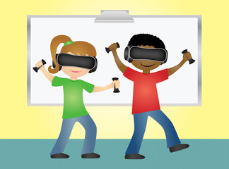 School students playing game with virtual reality glasses and hand controllers