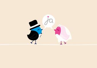 "Wedding Birds ""Ja-Wort"" Beige"