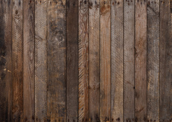 Wood texture. Big weathered wooden background from planks with rusty nails. Sharp and highly detailed. Wall mural