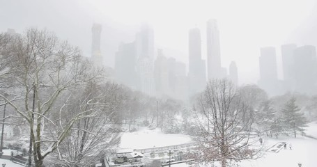 Fototapete - Central Park in New York City snowing