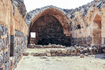 Ruins of the 12th-century fortress of the Hospitallers - Belvoir - Jordan Star - in the Jordan Star National Park near Afula town in Israel