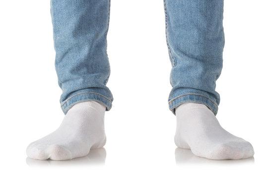 Man wearing white socks