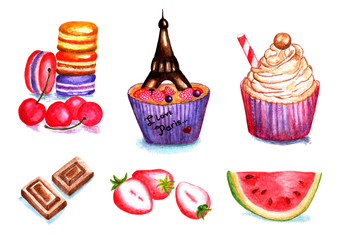 Set of cakes, fruits. Watercolor illustration. Set of sweets that consists of cakes, cake, pieces of chocolate, strawberries and watermelon