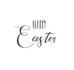 Hand drawn vector abstract graphic scandinavian Happy Easter cute greeting card template with Happy Easter handwritten calligraphy phases text isolated on white background