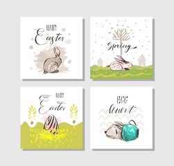 Hand drawn vector abstract graphic scandinavian collage Happy Easter cute illustrations greeting cards template collection set and Happy Easter handwritten calligraphy isolated on white background