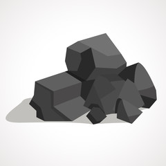 Cartoon black coal stacked pile