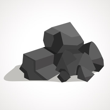 Cartoon black coal stacked pile