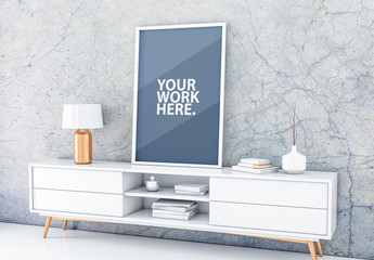 White Framed Canvas Mockup with Contemporary Furniture