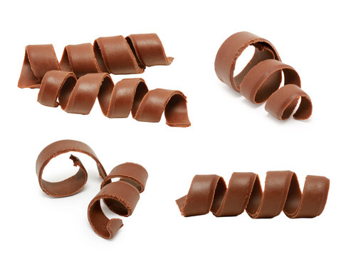 Chocolate curl set isolated on white background