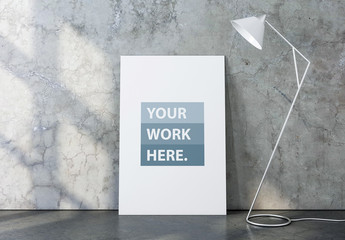 Canvas Mockup with White Floor Lamp and Marbled Interior