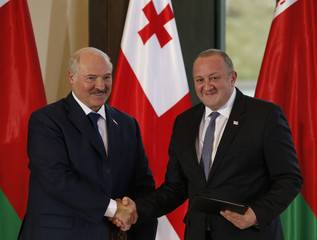 Georgian President Georgy Margvelashvili shakes hands with his Belarussian counterpart Alexander Lukashenko during a signing ceremony following their meeting in Tbilisi