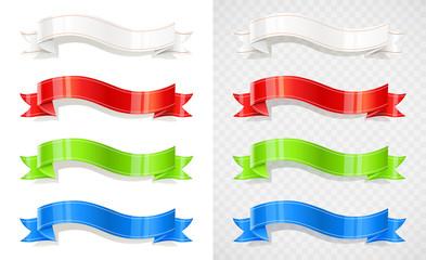 Set of colour ribbon. Decoration tape. Flag. Vintage banner.