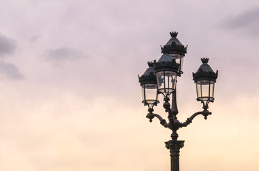 Lamp Post against the Sky at Sunset in Paris France