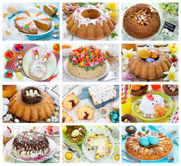Food collage of Easter cakes