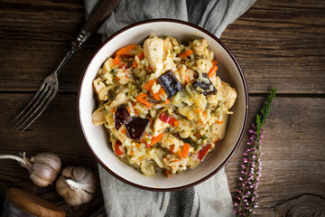 Risotto with chicken and vegetables.