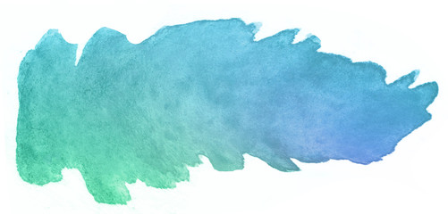 watercolor strip for design element blue green.