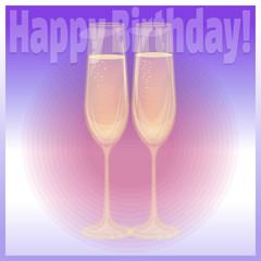 Happy Birthday glasses of champagne