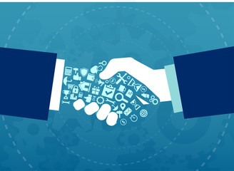 Vector illustration of a businessmen handshake with elements and icons of finance