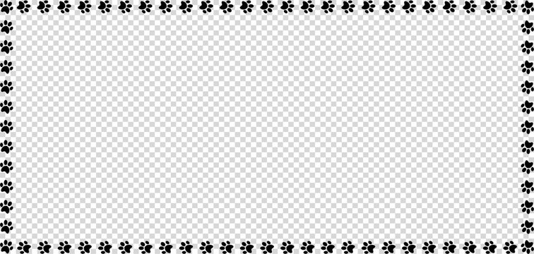 Rectangle frame made of black animal paw prints on transparent background.