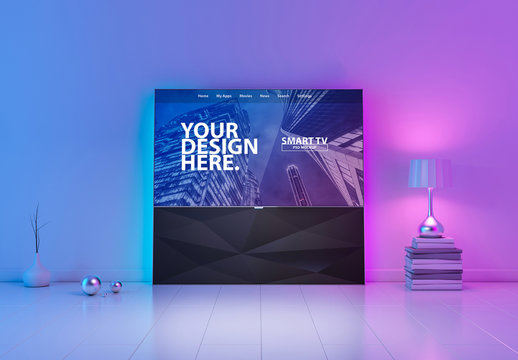 Smart TV Mockup with Purple and Blue Lighting Elements