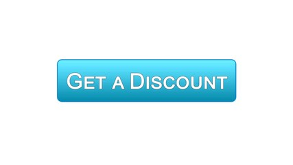 Get a discount web interface button blue color, online shopping application