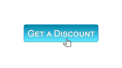 Get a discount web interface button clicked with mouse cursor, blue color