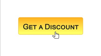 Get a discount web interface button clicked with mouse cursor, orange color