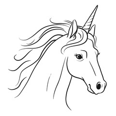 Unicorn head with flowing mane hand drawn black and white pen and ink style line drawing illustration. Fantasy mythical creature, fairy tales, dreams, hope. believe in yourself concept.