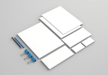 Realistic Stationery Mockups Set. Letterhead, name card, envelope, presentation folder. 3d render.