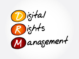 DRM - Digital Rights Management acronym, technology business concept