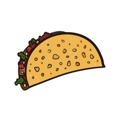 Doodle bright outline mexican tacos symbol. Cartoon flat black linear colorful taco sign for fast food restaurant or cafe menu, advertisement, banners, stickers