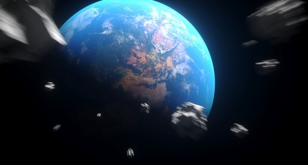 3D Rendering Of Realistic Falling Asteroids To The Earth The Elements Of This Image Furnished By NASA For Textures