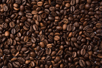 Mixture of different kinds of roasted coffee beans. Coffee Background