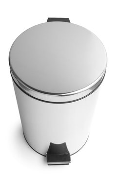 Stainless steel trash can with pedal