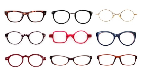 Set of glasses isolated on white background for applying on a portrait Wall mural