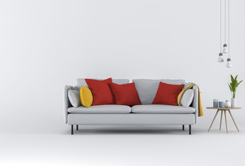 3D rendering of Studio furniture with sofa, lamp, plant, cup and decorations.