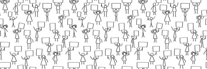 Vector illustration of stick figures protesting, holding up blank signs, seamless banner isolated on white background