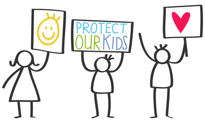 Vector illustration of stick figures holding up signs, protect our kids, love, isolated on white background
