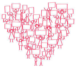 Vector illustration of protesting red stick figures, holding up blank signs standing in shape of heart isolated on white background