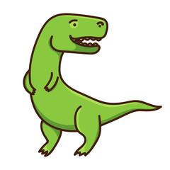 Cute cartoon dinosaur isolated on white background. Vector illustration
