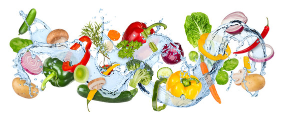 water splash panorama with various vegetables fresh basil ans thyme herb leafs isolated on white background / gemüse wasserspritzer wasser kochen hintergrund isoliert