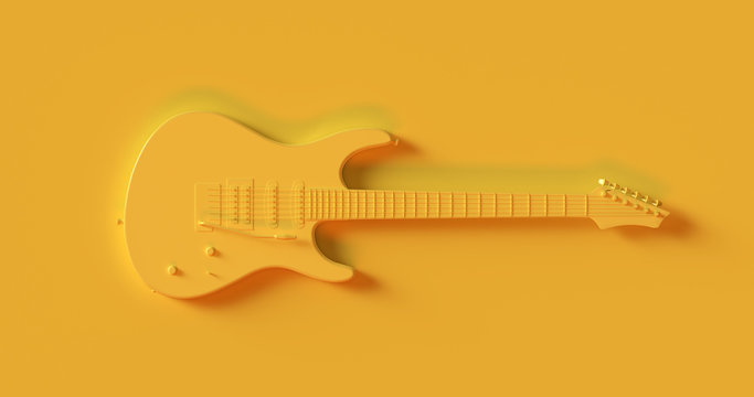 Yellow Electric Guitar 3d illustration