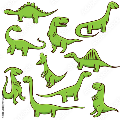 Cute cartoon dinosaurs set isolated on white background. Vector illustration