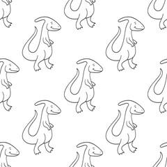 Cute cartoon dinosaurs pattern. Vector illustration
