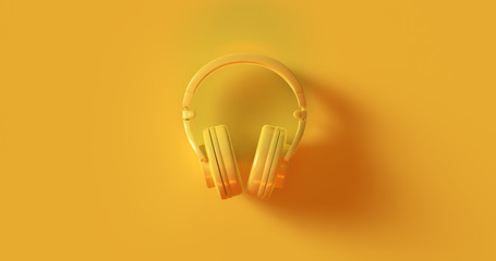Yellow Headphones 3d illustration	 Wall mural