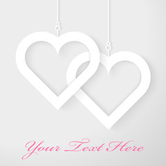 Two Hearts applique on gray background. Vector illustration.