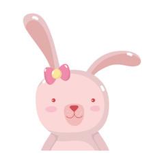 cartoon rabbit female with ribbon bow