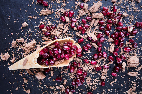 Cone with Pomegranate and chocolate
