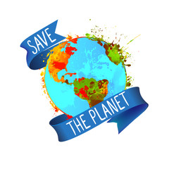 Save the planet. Splash paint Earth